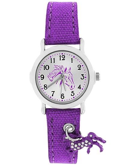 Crystal Blue Reloj de pulsera para Niños, diseño con colgante de caballo, analógico, de cuarzo, púrpura, lila 20016: Amazon.es: Relojes