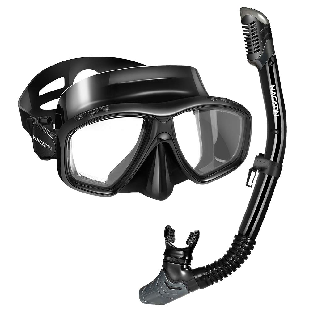 NACATIN Dry Top Snorkel Package Set Anti-Fog Scuba or Free Diving Snorkel Mask with Tempered Glasses, Adjustable Strap and Soft Silicone Tube,Professional Safety Gear for Adult Youth by NACATIN