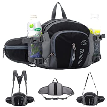 WATERFLY Waist Bag with Water Bottle Holder Hiking Fanny Pack Jogging Traveling Cycling Dog Walking Sports Waist Pouch