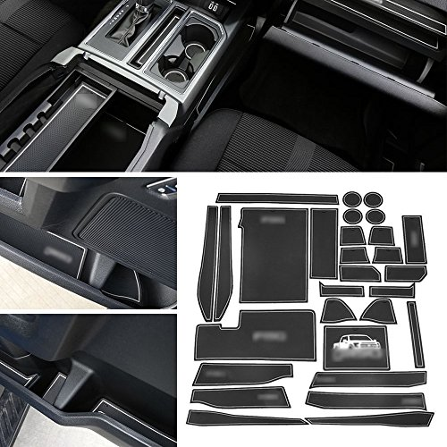 Anti-Dust Interior Cup Mats Door Gate Slot Pad Storage Mats for Ford F150 2015 2016 2017 2018 (29PCS/SET,White)