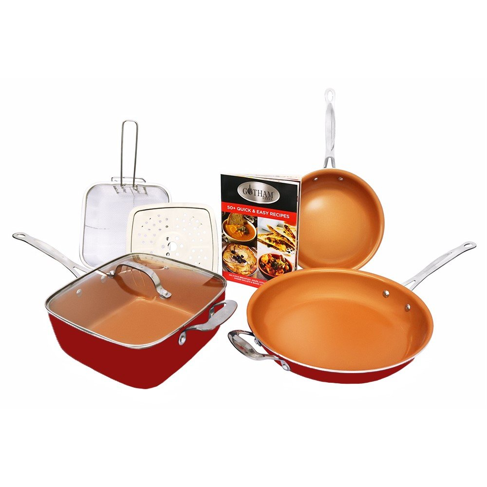 Gotham Steel 1738 Cookware Set, Large, Red