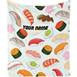 CUXWEOT Custom Blanket with Name Text,Personalized Sushi Pattern Japanese Food Super Soft Fleece Throw Blanket for Couch…