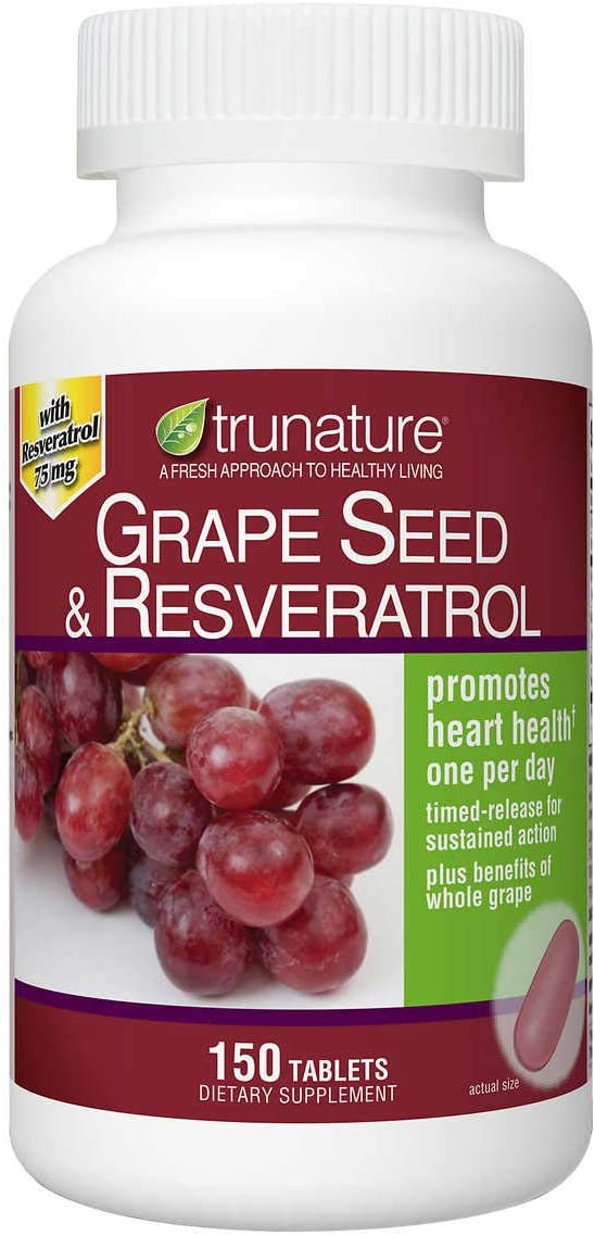 Amazon Com Trunature Grape Seed Resveratrol 150 Tablets Health Personal Care
