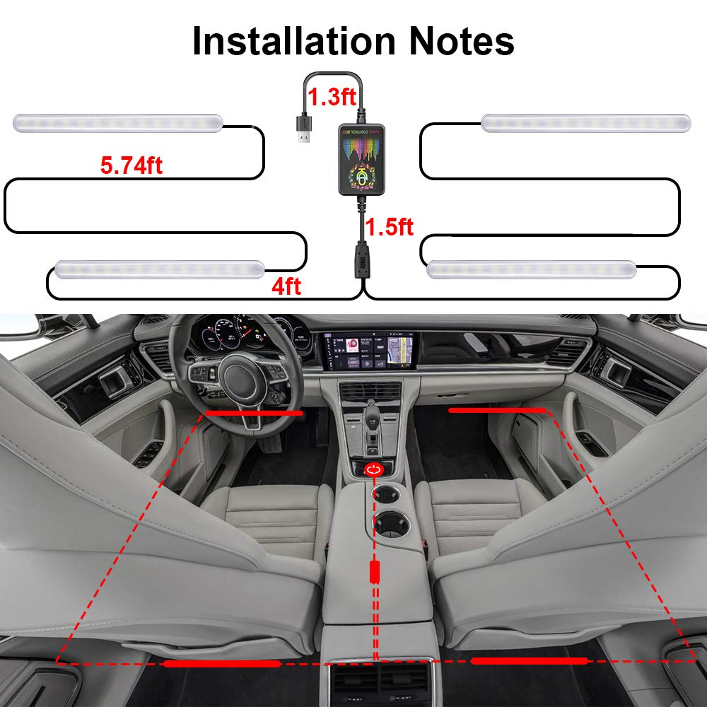 ATDIAG Car Interior LED Lights Strip 48 Pcs LEDs Bluetooth RGB Rock Atmosphere Lights USB Charging for Android//IOS App Controlle Multi DIY Color With Music Sound Active Function