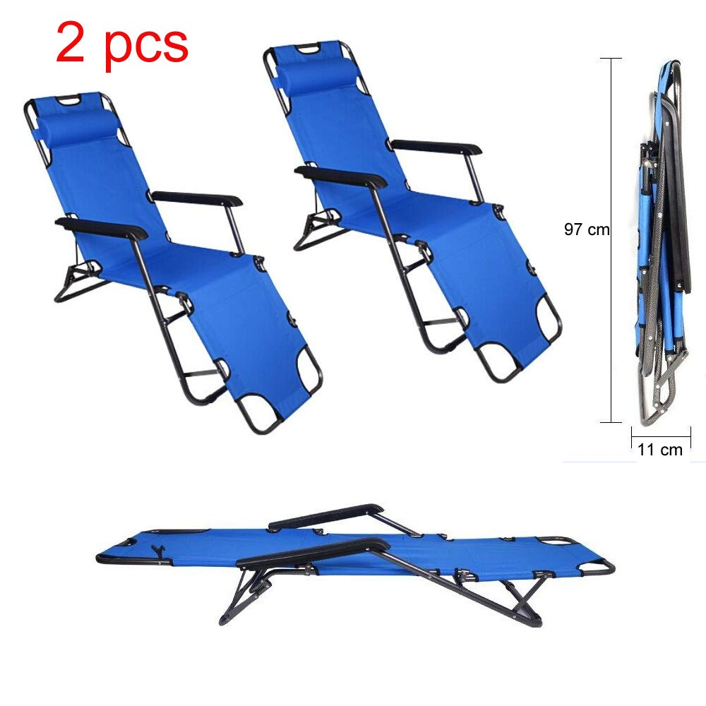 Tenozek Folding Beach Lounge Chair, Portable Outdoor Zero Gravity Chair Camping Reclining Chairs Patio Pool Beach Chaise Lawn Recliner 2 Pieces, Blue