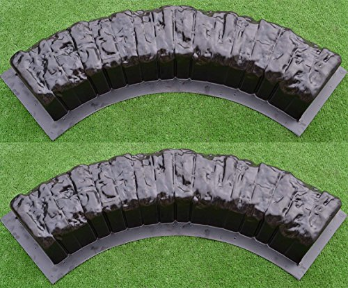 2 pcs ROUND EDGE STONE CONCRETE MOLDS Log Edging Border Mould ABS Plastic #BR11 -