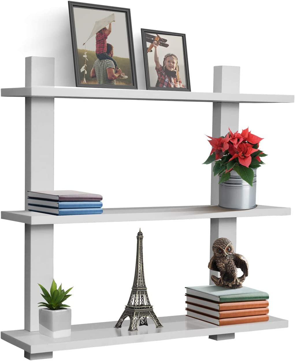 Sorbus Floating Shelf Asymmetric Square Wall Shelf, Decorative Hanging Display for Trophy, Photo Frames, Collectibles, and Much More, Set of 3 3-Tier White