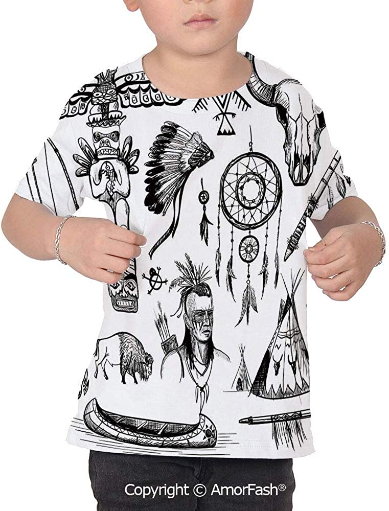 Native American Girls Short-Sleeve Midweight T-Shirt,Polyester,Set of Wild West