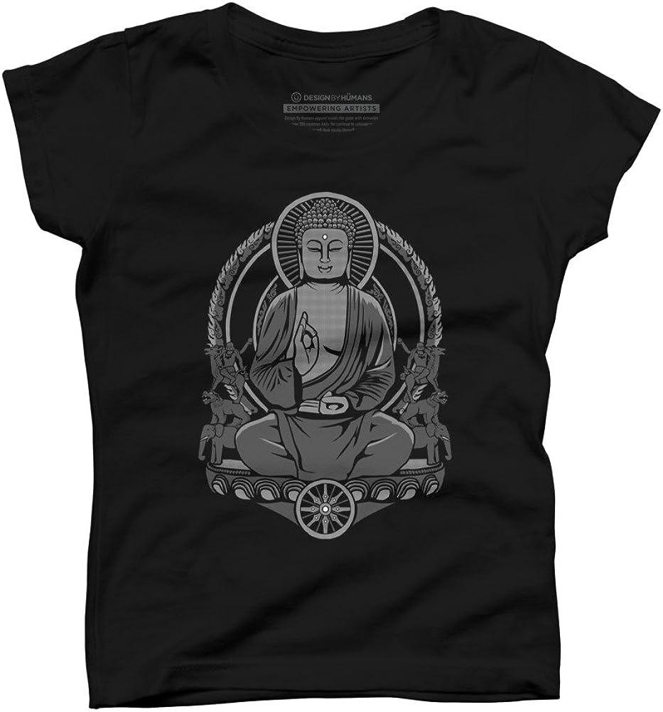 Design By Humans Gautama Buddha Halftone Girls Youth Graphic T Shirt