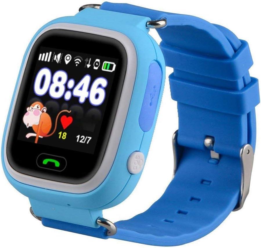 Niños Reloj Inteligente GPS Rastreador Localizador Anti-Lost Seguridad Niños Reloj de Pulsera SOS Llamadas SIM Podómetro Smartwatch Compatible con iPhone y Android Smartphone (Azul)