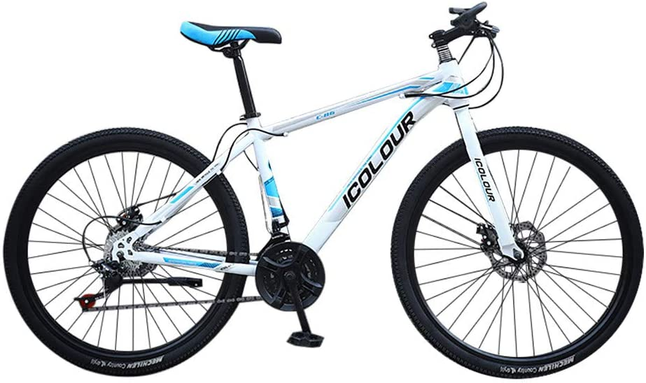 Honestyivan Mountain Bikes, 26-inch Wheels Mountain Trail Bike, 6-Spoke 24-Speed Gears Carbon Steel Full Suspension MTB Bikes with Dual Disc Brakes, Road Bicycle for Adult Teens Office Worker Students