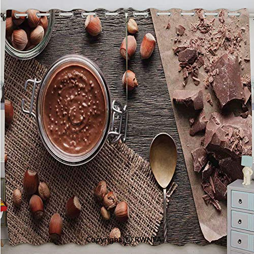 (Justin Harve window Natural Chocolate Cocoa Cream Image Rustic Style Image Cafe Home Art Design Wooden Surface Grommet Top Blackout Curtains Set of 2 Panels(100