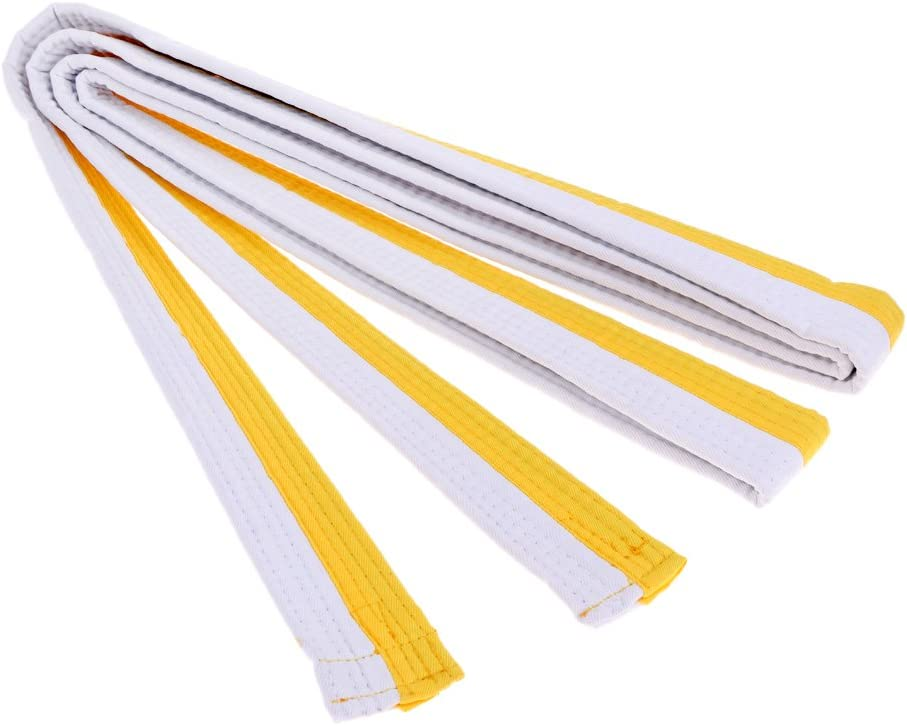 Baoblaze 8Colors Standard Taekwondo Road with Divisa Level Belt Taekwondo Belt TKD Belt Martial Arts Karate Judo 110 x 1.5 inch