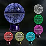 Death Star 3D Lamp – Unique Light for Home – 3D Optical Illusion Night Light - Projector 7 Color Change Decor Desk Lamp for Kids and Adults Visual Led Platform Night Lighting from Star Wars Collection