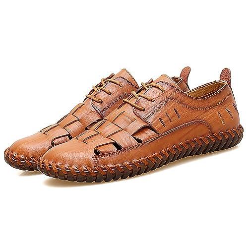 Sandalias Deportivas para Hombre Verano Exterior Zapatillas de Montaña Senderismo con Puntera Cerrada Cuero Sandalias de Playa: Amazon.es: Zapatos y ...