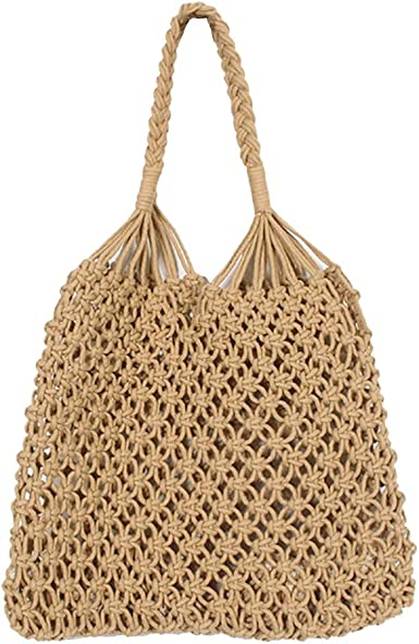 FENICAL Bolsa de malla de punto Bolsa de playa de verano Bolsa de algodón tejida para mujeres niña damas (marrón): Amazon.es: Ropa y accesorios