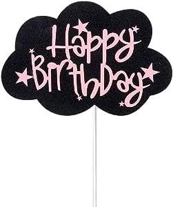 Acharles Black Cloud Pink Happy Birthday Cake Topper Birthday Party Decoration Supplies