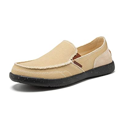 Men's Canvas Boat Shoes Slip on Deck Shoes Non Slip Casual Loafers Outdoor Sneakers Walking | Loafers & Slip-Ons