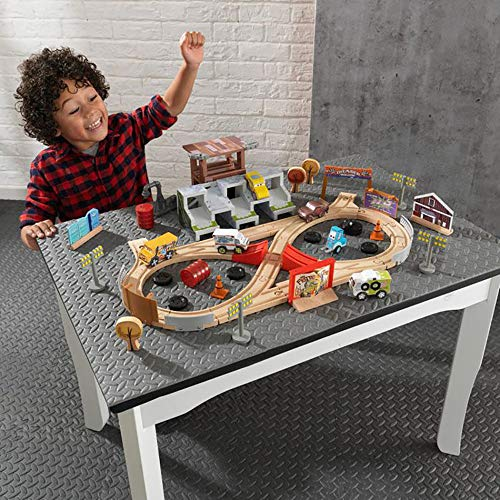 Disney KIDKRAFT Pixar Cars 3 Thunder Hollow 50 Piece Wooden Track Set with Accessories
