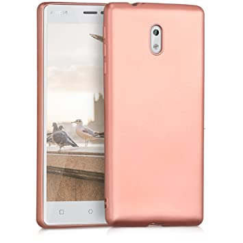 hot sale online f16f7 091ef kwmobile TPU Silicone Case for Nokia 3 - Soft Flexible Shock Absorbent  Protective Phone Cover - Metallic Rose Gold