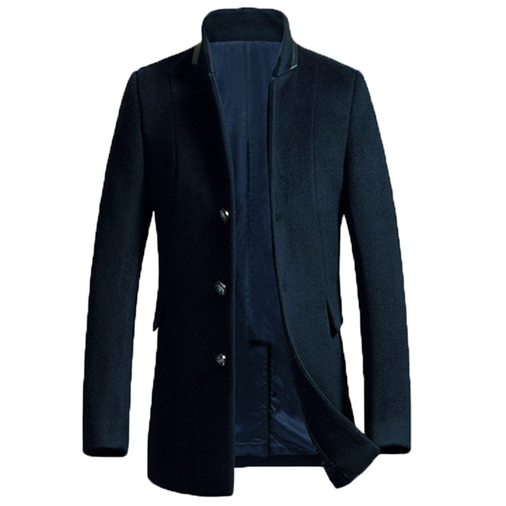 YanCui@ Daily / Going out / Work / Business Fall Winter Men's Solid Color Stand Collar Woolen Coat,Navy blue,XL by YanCui Men's Jackets and Coats
