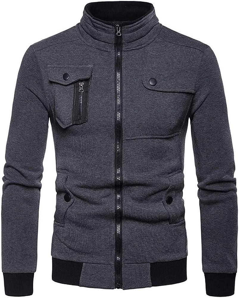 Thenlian Mens Zipper Pocket Splicing Pullover Long Sleeve Sweatshirt Tops Blouse