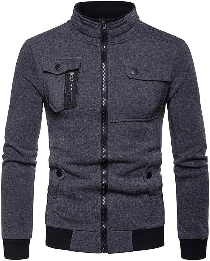TIMEMEAN Coat for Men Full Zip Sale Autumn Winter Long Sleeve Jacket Lightweight Smart Black Large