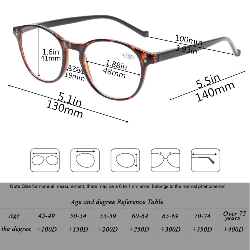 a4c520bf5a 5 Pairs Reading Glasses - Standard Fit Spring Hinge Readers Glasses for Men  and Women (5 Pack Mix Color