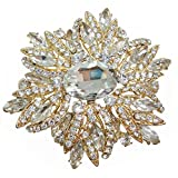 TTjewelry 3.82'' Gorgeous Flower Large Rhinestone Crystal Brooch Pin (White Gold-tone)