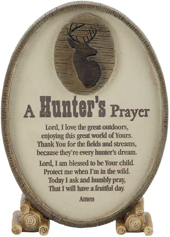 Dicksons A Hunter's Prayer Oval Shaped Brown 6 x 3.5 Resin Stone Table Top Sign Plaque