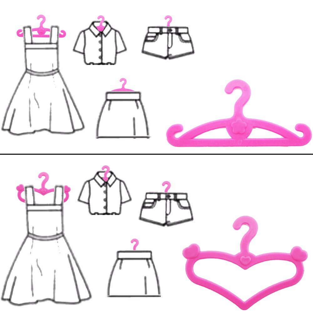 Uteruik Doll Clothes Hangers Green Plastic Hangers Doll Accessories Fits 46cm//18in Dolls Clothes Dress 5pcs