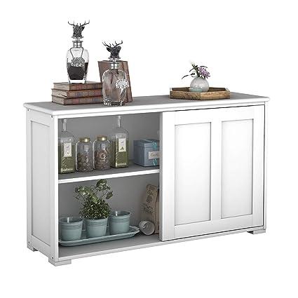 COSTWAY Sideboard Küchenschrank Badkommode Wohnzimmerregel Beistellschrank  Anrichte Mehrzweckschrank mit Schiebetüren Weiß
