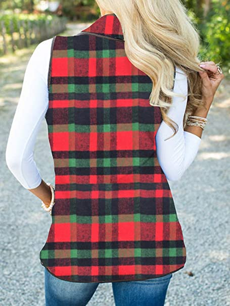 Geckatte Womens Plaid Vest Lapel Cardigan Open Front Sherpa Sleeveless Jackets with Pockets