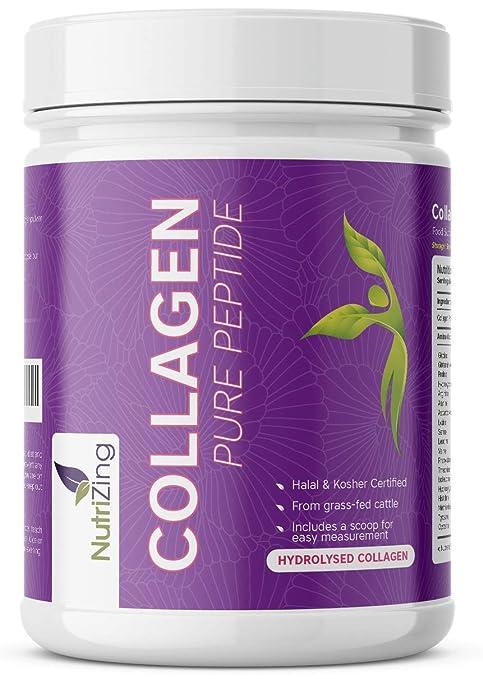 NutriZing Colágeno Hidrolizado en Polvo ~ Proteína sin Sabor de Ganado Alimentado con Pasto ~ 100% Natural ~ Para Hombre y Mujer ~ Dosis de 10000mg