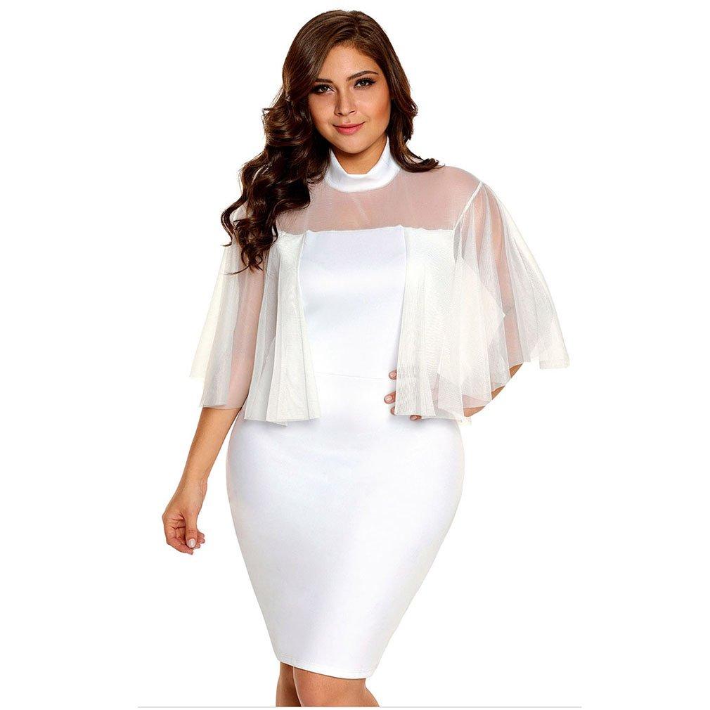 Amazon.com : Womans Dress Women Dresses Round Neck Transparent Net Yarn Splice Pure Color Package Hip Plus Size Sexy Party Fashion Evening Gown (Color ...