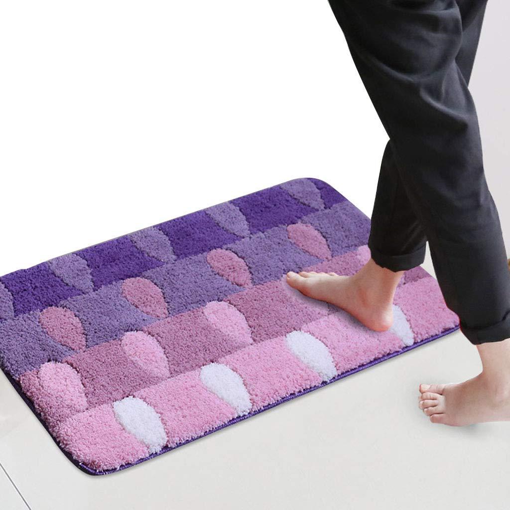 Alfombra de Piso Puerta baño Cuarto de baño Puerta Puerta baño Antideslizante Alfombra Absorbente (Color : Purple, Size : 40 * 60cm)