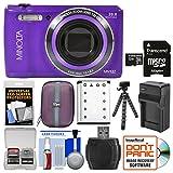 Minolta MN12Z OIS 12x Zoom Wi-Fi Digital Camera (Purple) with 32GB Card + Case + Battery & Charger + Tripod + Kit
