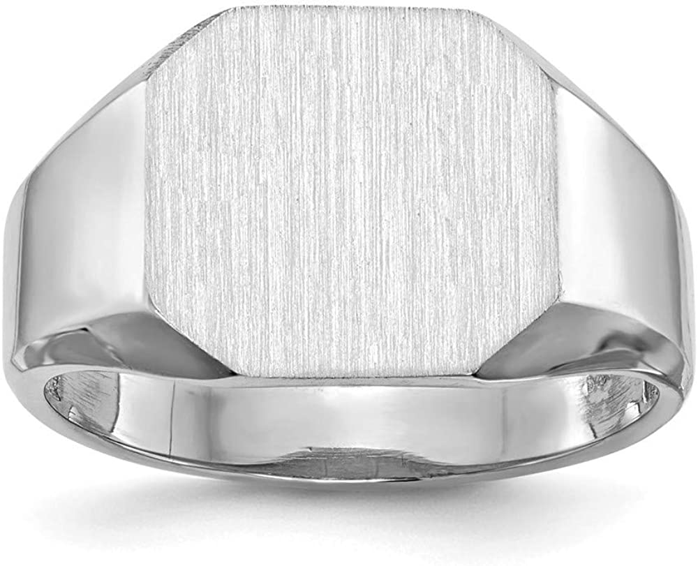 Roy Rose Jewelry 14K White Gold Open Back Mens Square Top Signet Ring Custom Personailzed with Free Engraving Available Initial or Monogram