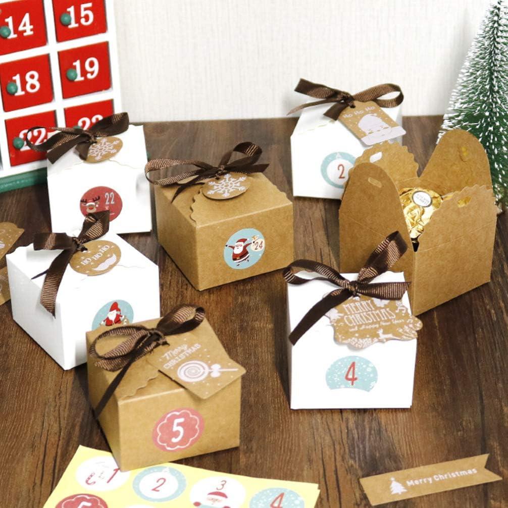 Tomaibaby 24 Juegos Caja de Galletas de Navidad Dulces Artesanales de Bricolaje Caja de Almacenamiento de Galletas de Aperitivo Caja de Mano Vintage Navidad Etiqueta Pintada Etiqueta