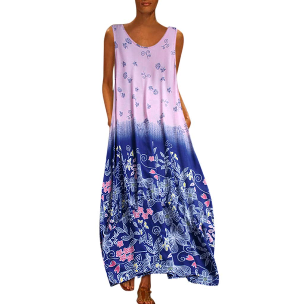 Nmch Women's Plus Size Casual Color Block Print Maxi Dress Sleeveless Loose Party Long Dresses Chiffon Dress(Blue,XL)