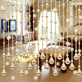 Decorative Door String Curtain Bead Wall Panel Fringe Window Divider Blind for Wedding Coffee House Restaurant Parts Crystal Tassel Screen Home Decoration (B)