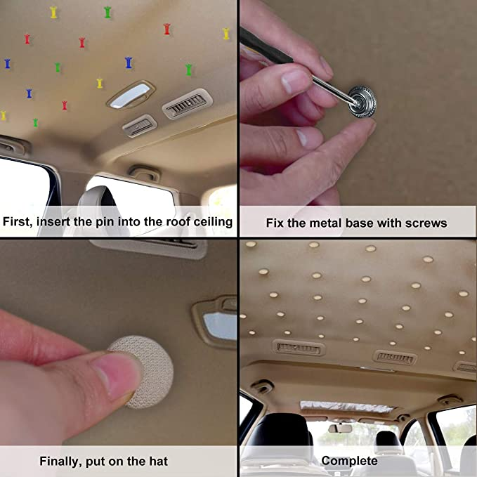 60PCS Pulsante per strumento di riparazione Fibbia per tetto auto Spillo a pressione Fibbia per tetto auto fissa per rivetti per tetto auto Decorazione interna per auto fissa beige