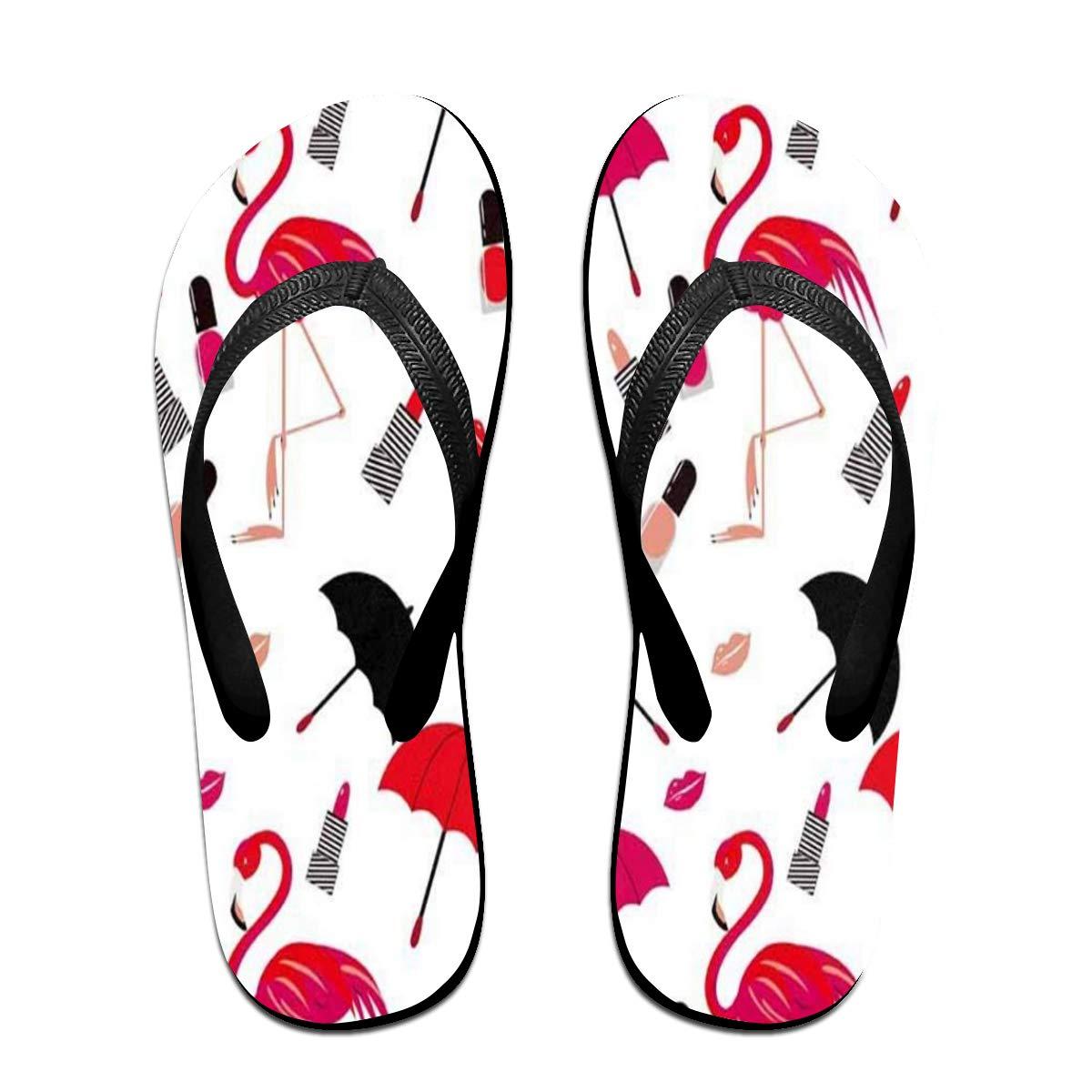 Ladninag Flip Flops Flamingo Lipstick Umbrella Red Womens Indoor Slippers Thong Sandals for Mens