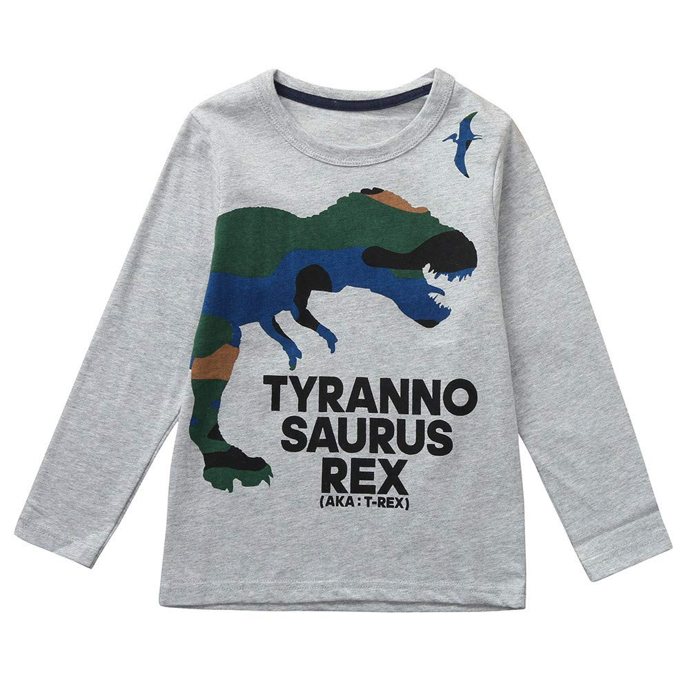 TheRang Children Boys Girls Long Sleeves Cartoon Dinosaur Letter Printed Top Clothes