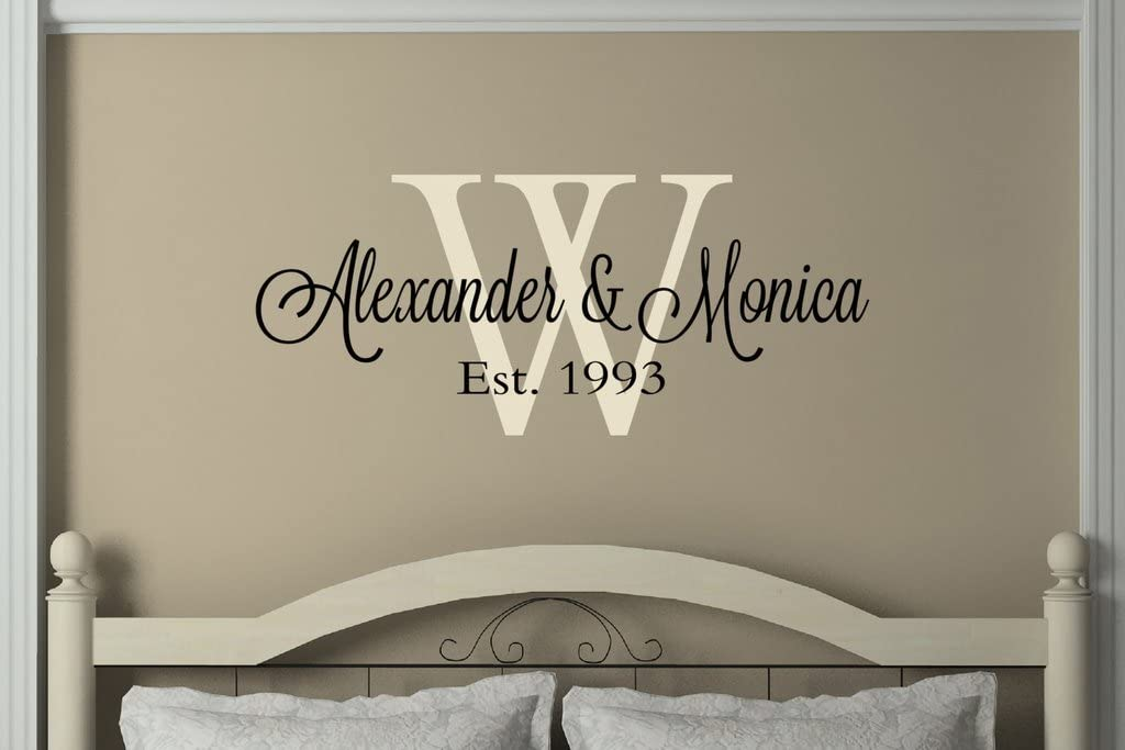 N.SunForest Personalized Couple Name Monogram Wedding Gifts Wall Decal Vinyl Wall Bedroom Decor