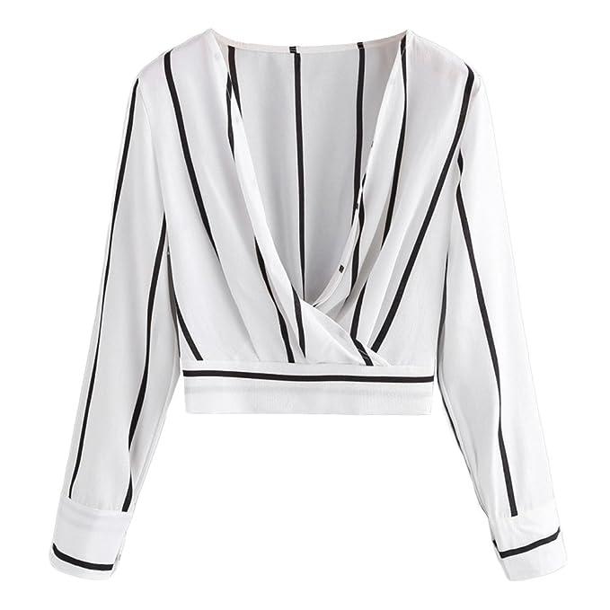 Mujer Blusa a Rayas con Dobladillo Elástico Camiseta Corta Delantero Cruzado Top de Moda Manga Larga