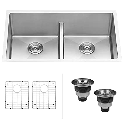 ruvati 30 inch low divide undermount tight radius 50 50 double bowl rh amazon com