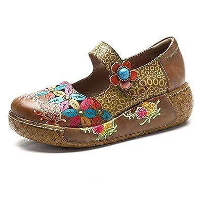 Socofy Chaussures de Ville Femme Fille, Mary Jane en Cuir À Motif Fleurs  Talon Compensé 5e6d9ec67466