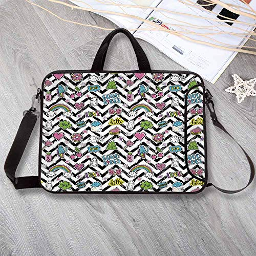 (Good Vibes Lightweight Neoprene Laptop Bag,Black Zigzags with Colorful Cartoon Figures Cute Clouds Rainbow Ghost and Sweets Decorative Laptop Bag for Laptop Tablet PC,13.8