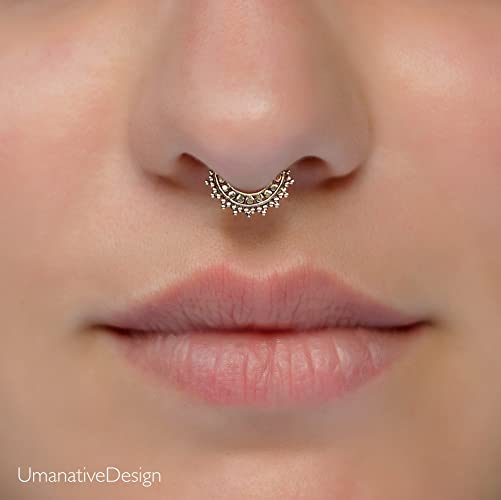 Tiny Fake Septum Nose Ring Indian Tribal Style Faux Brass Clip On Non Pierced Septum Hoop 18g Handmade Designer Piercing Jewelry